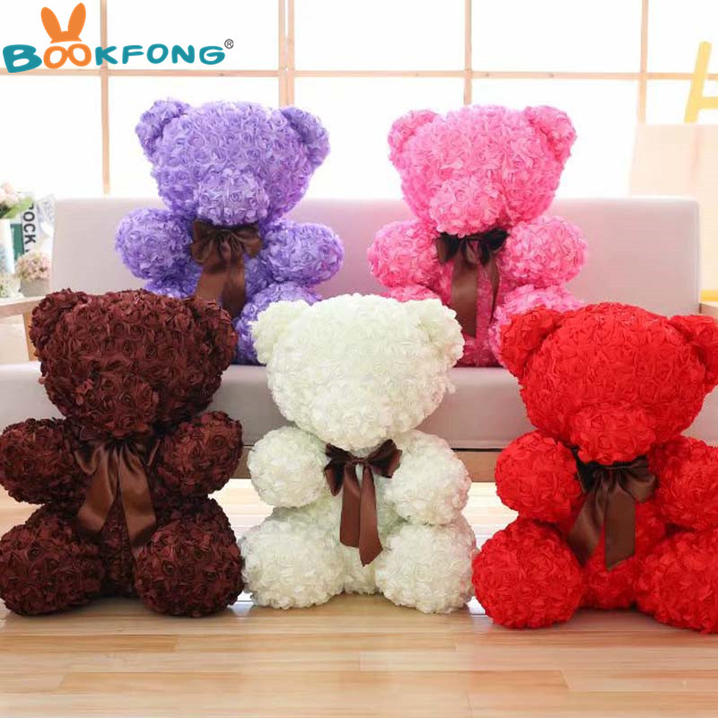 60cm Rose Bear Plush Toy Rose Flower Teddy Bear Dolls Valentines Day Gift Birthday Party Spring