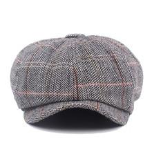 Vintage Cotton Linen Beret Men Flat Cap England Newsboy French Hat Gray  Coffee British Octagonal Caps cf00984dd076