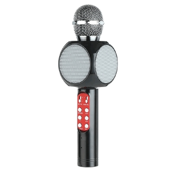 Wireless Bluetooth Ktv Speaker Mini Home Mic Microphone Fashion Flash Led Light Handheld Microphone For Mobile Phone Music Pla