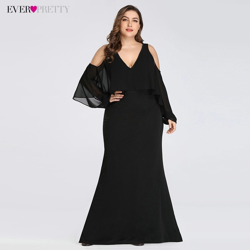Plus Size Elegant Evening Dresses Ever Pretty EZ07748 V-Neck Black Little Mermaid Sexy Party Dress 2019 Robe De Soiree