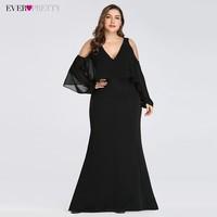 Plus Size Elegant Evening Dresses Ever Pretty EZ07748 V Neck Black Little Mermaid Sexy Party Dress 2019 Robe De Soiree