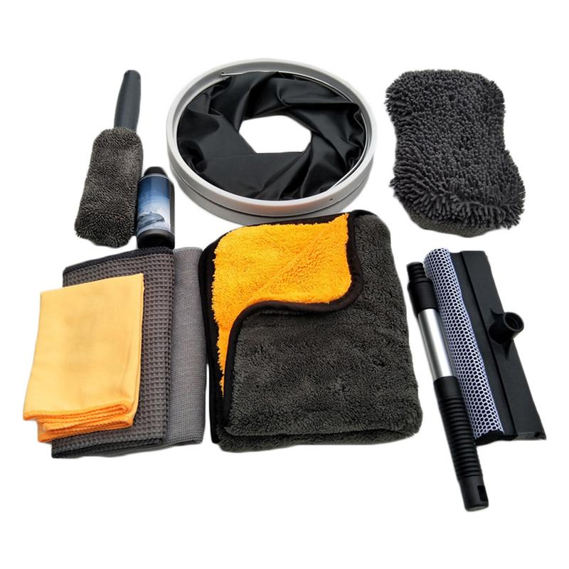 Us 26 6 5 Off 10 Pcs Car Cleaning Tools Kit Set Exterior Interior Cleaning Kit With Bucket Wipes Waxed Towel Special Coated Towel Sponge Block In