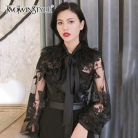 TWOTWINSTYLE Patchwork Feathers Women's Shirts Blouse Lace Up Lantern Sleeve Perspective Print Pullover Tops Female 2018 Autumn
