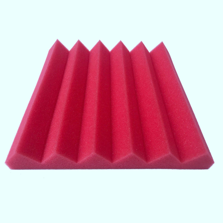 cheapest 12 Pcs Acoustic Panels Soundproofing Foam Acoustic Tiles Studio Foam Sound Wedges 1inch X 12 inch X 12 inch black   red