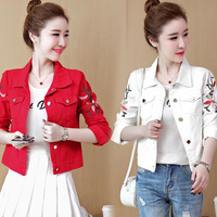 #3221 2019 Spring Windbreaker Slim Jeans Jacket Women Flowers Embroidery Red/White Denim Jackets Ladies Short Outerwear Coat