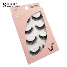 SHIDISHANGPIN 4 pairs hand made makeup thick fake eyelash cruelty free faux cils 1 box mink eyelashes natural long