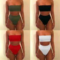 Sexy Women High Waist Swimsuit Bikini Bandeau Thong Plus Size Swim Wear For Women 2018 Biquinis Swimming Suit Bathing Biquini