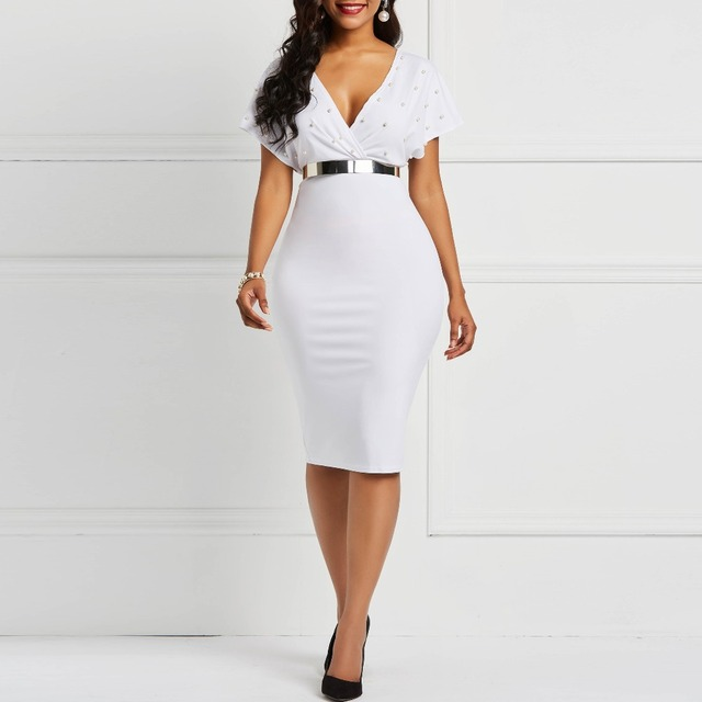 Short sleeve deep v-neck white bodycon dress