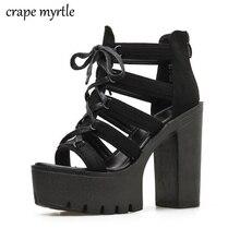 designer sandals chunky heel summer Shoes Woman Platform Sandals women footwear block heel sandal sandalia plataforma YMA698 недорго, оригинальная цена
