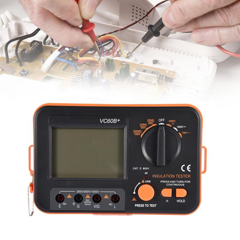VC60B+ Digital Insulation Resistance Tester 250/500/1000V DC Lightweight Wide Range LCD Backlight Home Instrument Tools