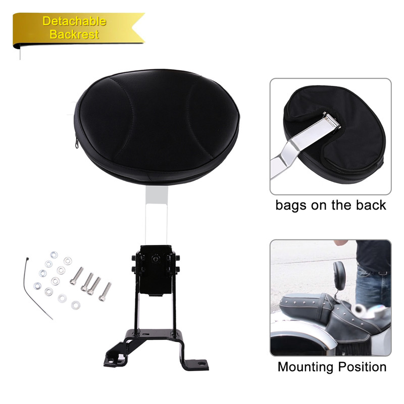 Plug-In Driver Backrest & Mounting Kit For Indian Chief Chieftain Roadmaster Springfield 2014 2015 2016 2017 2018