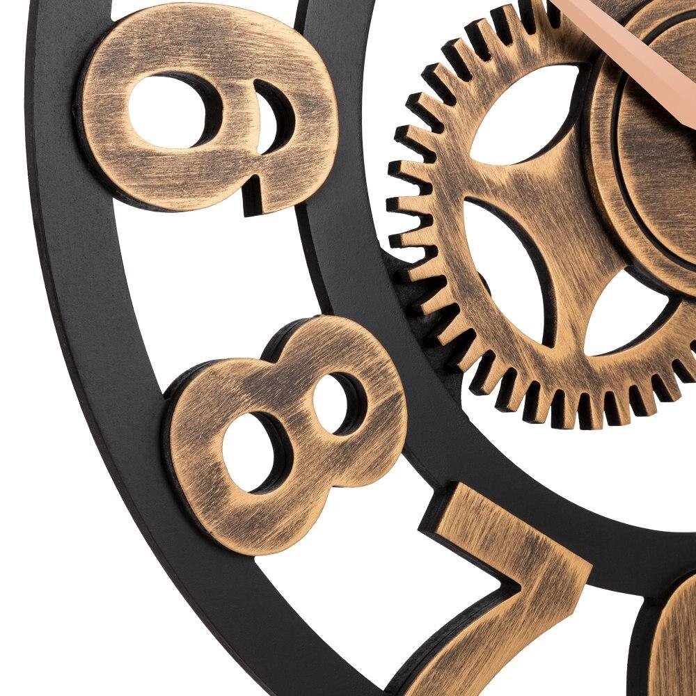 LUDA horloge 3D rétro rustique Vintage en bois 23 pouces silencieux engrenage horloge murale numéro antique or - 4
