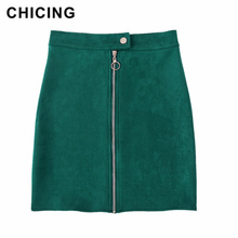 8db10c0a92 CHICING 2019 Spring New Arrival Women Suede Multi Color A-Line Mini Skirt  Female Button