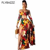 2019 Womens Dress Sexy Off Shoulder Printed Boho Beach Dress Hollow Maxi Long Dress Split Floral Beach Cover Up Summer Vestidos
