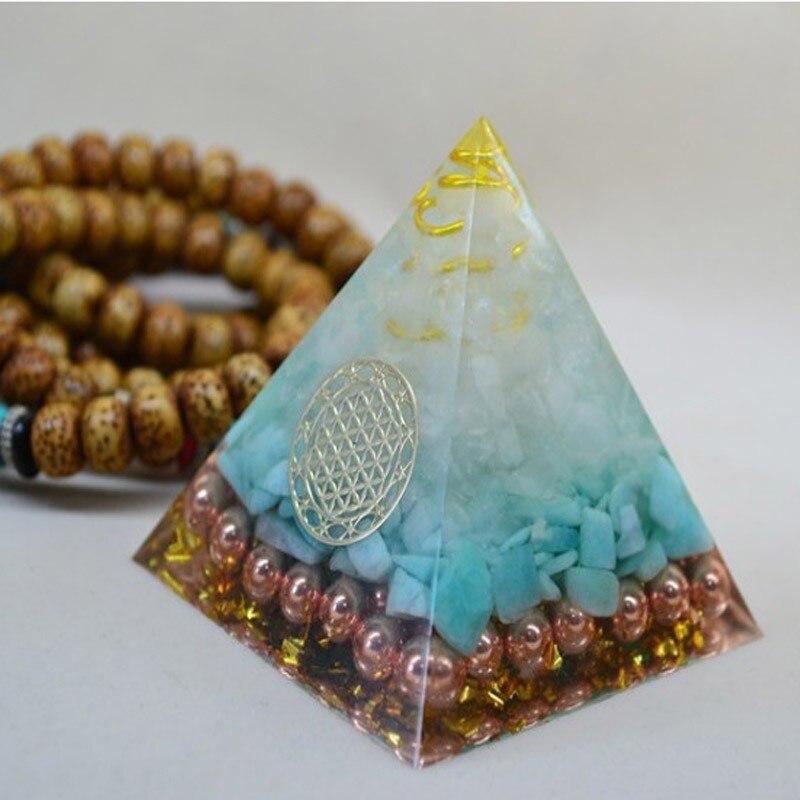 Natural Aura Tianhe Stone Crystal Orgonite Pyramid Energy Decoration Handmade Resin Decorative Craft Jewelry Bring Chakra Gift