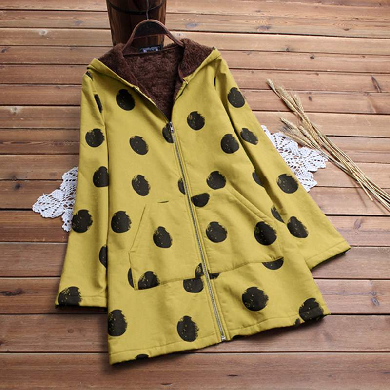 Women Hooded 2019 Winter Long Sleeve Thicken Warm Coats Faux Fluffy Polka Dot Printed Pockets   Basic     Jackets   Outerwear Plus Size