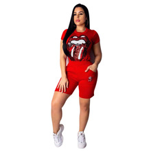 Sexy Outfits for Woman Sequins Lips Print T shirts And Shorts 2019 Summer Casual Streetwear Two Piece Set Plus Size