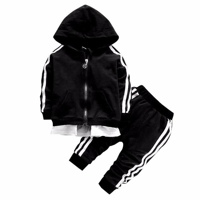 2019 printemps bébé survêtement de Sport enfants garçon fille coton veste à glissière pantalon 2 pièces/ensembles enfants loisirs Sport costume vêtements pour bébés