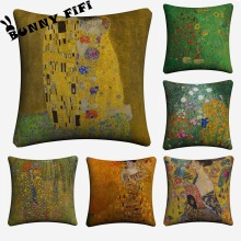 Gustav Klimt Decorative Cotton Linen Cushion Cover 45x45cm For Sofa Chair Pillowcase Home Decor Almofada