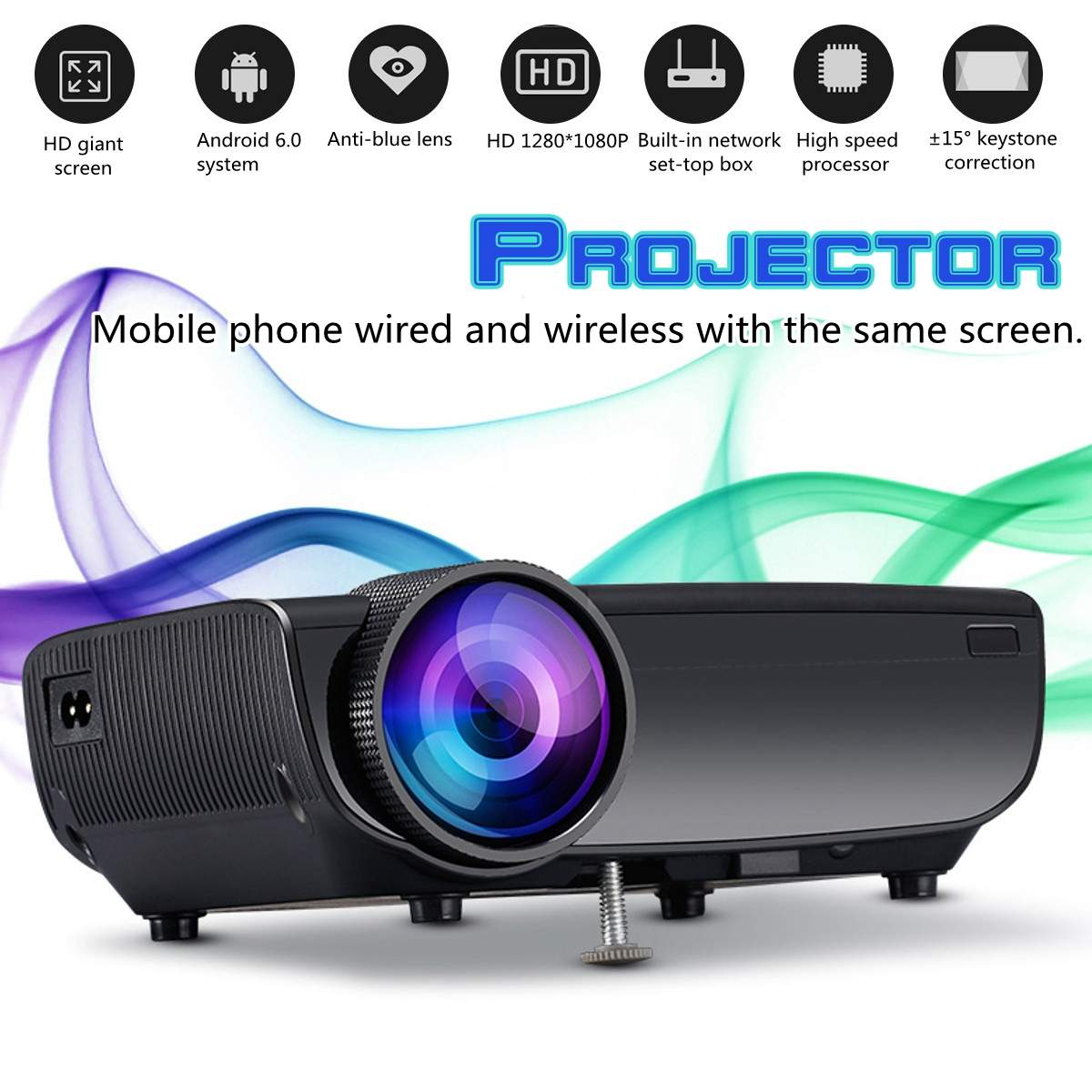 1080P Home LED Projector Remote Control Keystones Correction 0.8M-3.8M  Image Full HD Projector1080P Home LED Projector Remote Control Keystones Correction 0.8M-3.8M  Image Full HD Projector