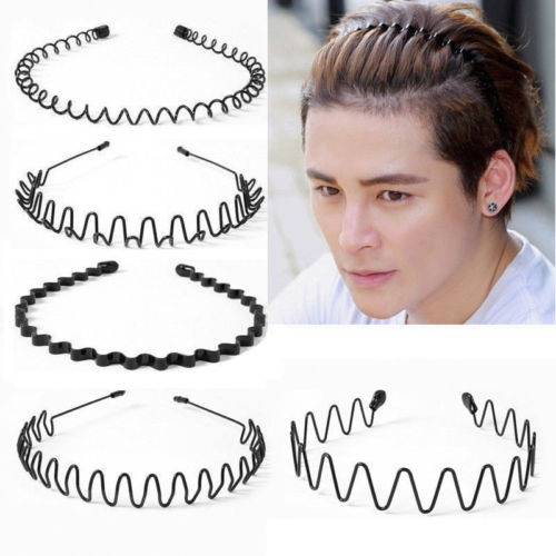 Men Women Sports Travel Wave Hair Band Unisex Metal Black Curve Hoop Headband