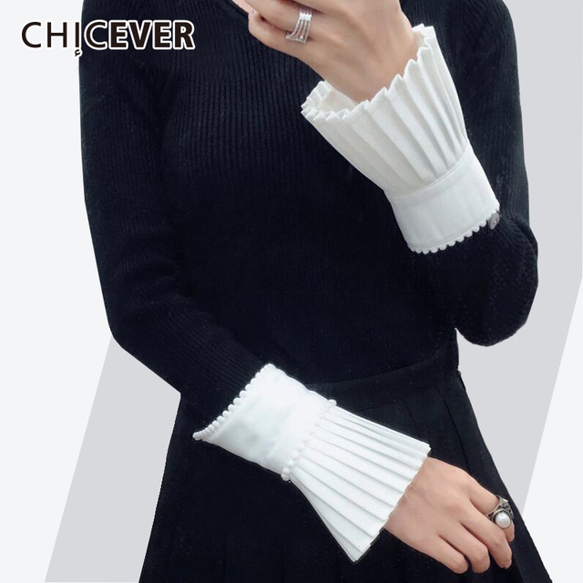 CHICEVER 2018 Spring Fashion Women Gloves With Beading Pleated Ruffles White High Quality Cuff For Women's Casual New