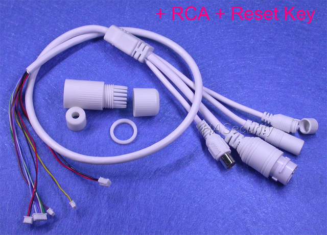 LAN cable for CCTV IP camera board module 1x RCA connectors (audio) 1x Reset Key