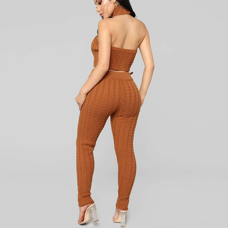 Deux Ensembles 2018 Orange Femelle Chandail Costumes Tricot D'intérieur Décontracté Couleur Ensemble Femme Pantalon Lont Solide Slim Pull Hiver pièces XvvBHqwg