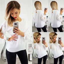 Summer ladies new long-sleeved round neck chiffon lace fashion womens casual T-shirt