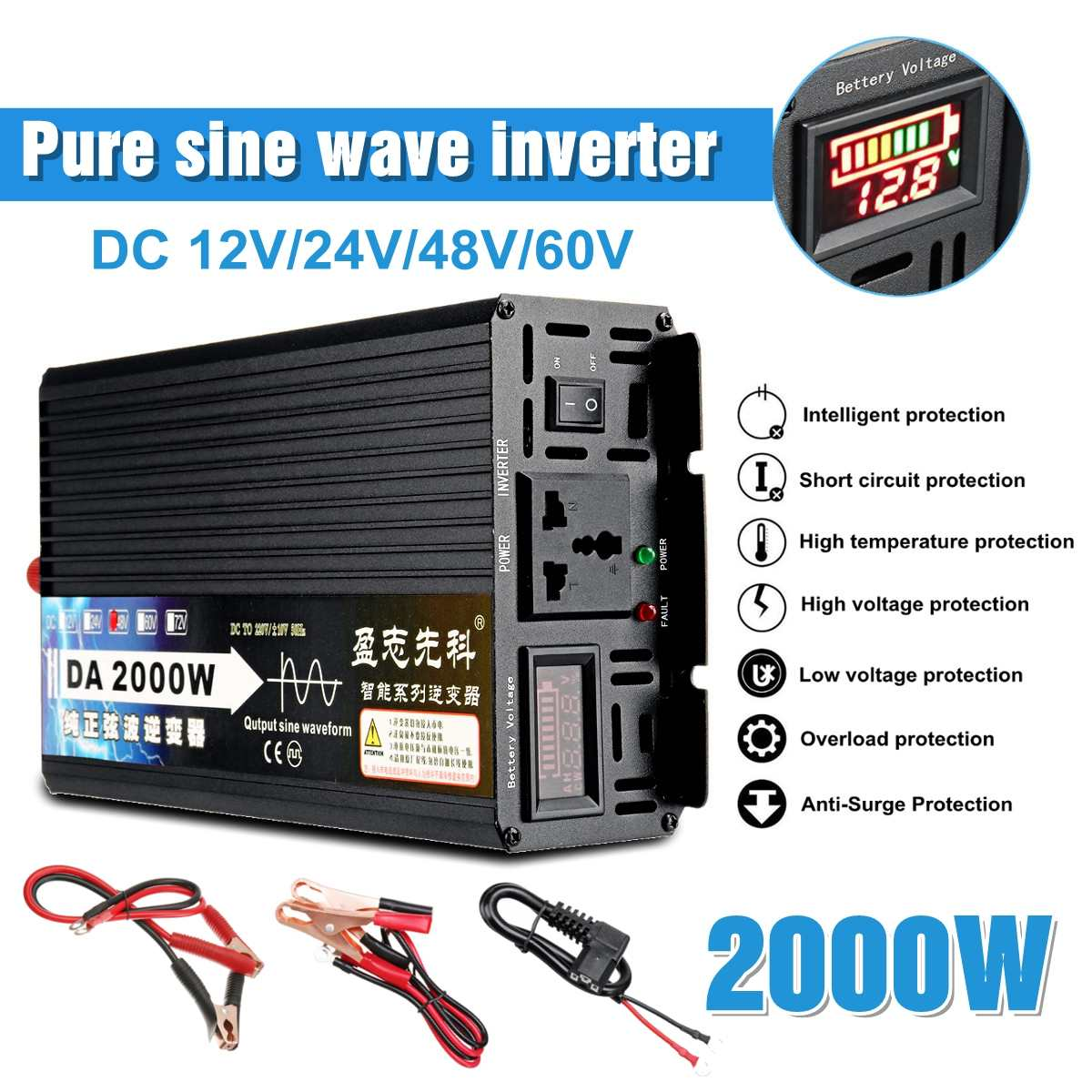 2000W Voltage transformer Pure Sine Wave Power Inverter 12V/24V/48V/60V TO 220V LCD Display Voltage Converter2000W Voltage transformer Pure Sine Wave Power Inverter 12V/24V/48V/60V TO 220V LCD Display Voltage Converter
