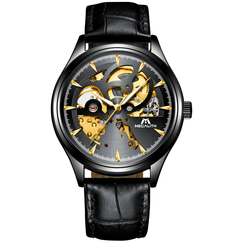MEGALITH Automatic Mechanical Watches For Mens Fashion Simple Sport Business Waterproof Black Leather Wrist Watch Relojes HombreMEGALITH Automatic Mechanical Watches For Mens Fashion Simple Sport Business Waterproof Black Leather Wrist Watch Relojes Hombre