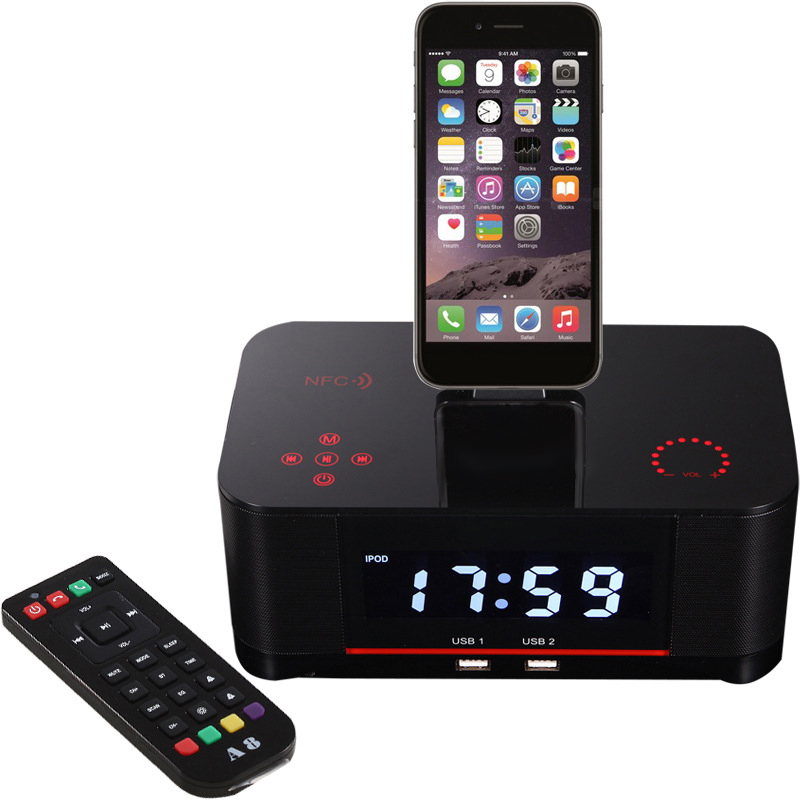 Touch Alarm Charger Dock Station Stereo Wireless Bluetooth Speaker with NFC FM RadioTouch Alarm Charger Dock Station Stereo Wireless Bluetooth Speaker with NFC FM Radio