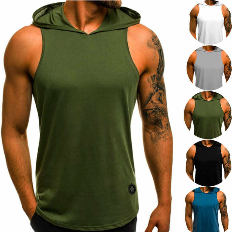 Mannen Fitness Hoodies Tank Tops Mouwloos T-shirt Man Workout Hooded Vest Effen Hemd Sportkleding