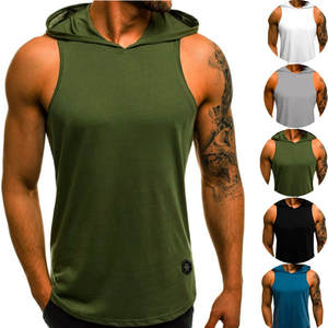 Men Fitness Shirt Hoodies Sportswear Tank-Tops Solid-Undershirt Workout Male Sleeveless