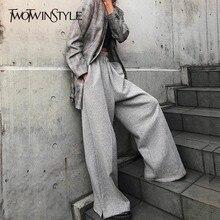 TWOTWINSTYLE الكورية بنطال ذو قصة أرجل واسعة للنساء عالية الخصر مطاطا زر سبليت رمادي المرأة بنطلون زائد سميكة 2020 الخريف الشتاء