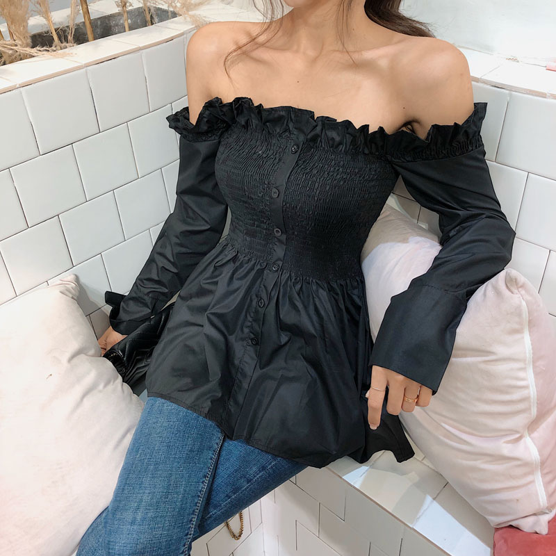 Women Ruffles Slash Neck Long Sleeve Off Shoulder   Shirts   Tee Girls Solid Sexy Flare   Blouses     shirts   Tops For Female