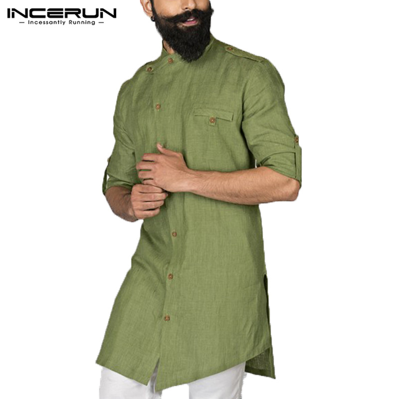 27ddb0e9bc INCERUN 2019 hombres camisa manga larga Botón de cuello Tops hombres  islámica árabe Kaftan ropa musulmana Oriente Medio camisa Kurta traje