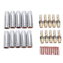 Горячая Распродажа 30 шт. 15Ak Binzel фонарь/пистолет расходные электроды и нержавеющая сталь защитная крышка и соединительные кончики стержней для Mig сварки