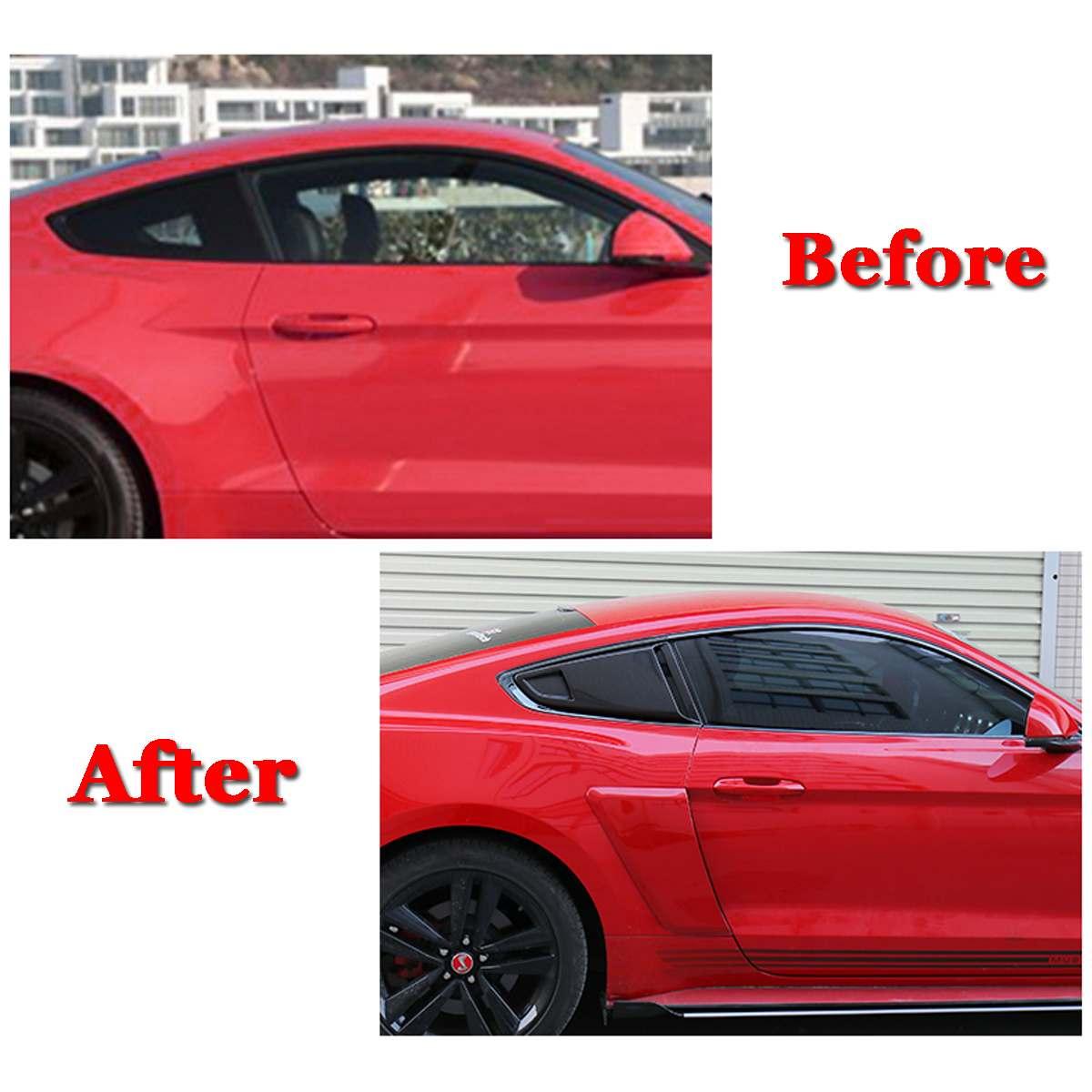 2 pièces voiture côté fenêtre arrière quart persienne côté évent déflecteur Scoop couverture pour Ford pour Mustang 2015-2017 2 porte pour modèle de Coupe