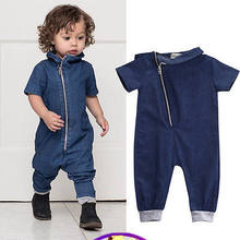 2018 Boys and Girls Summer Children's Clothing 2018 New Foreign Trade Children's Jumpsuit Children's Baby Denim Jumpsuit Romper(China)