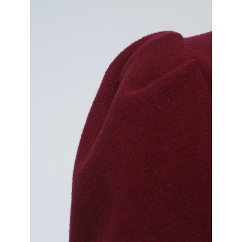 Vintage Femmes Bourgogne Chaud Tenue Laine En Automne Long Pardessus D'hiver Vêtements Bureau Sortie De Mode Élégant Manteau Ruches Mince Solide Marque Décontracté 14wr4xISq