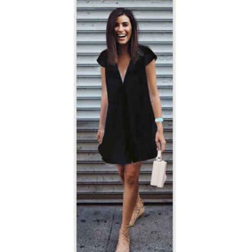 Sıcak Vintage 2019 Yaz Bayan Gevşek Derin V Boyun Şifon Gömlek Kısa Kollu Yumuşak Katı Rahat Üstleri Elbise