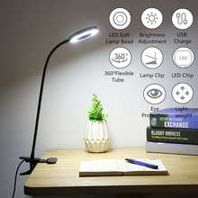 USB Power Clip Holder LED Book Light Desk Lamp 7W Flexible Bed Reading Book Lights Table Lamp for Study Room Eye Care Night Lamp(China)