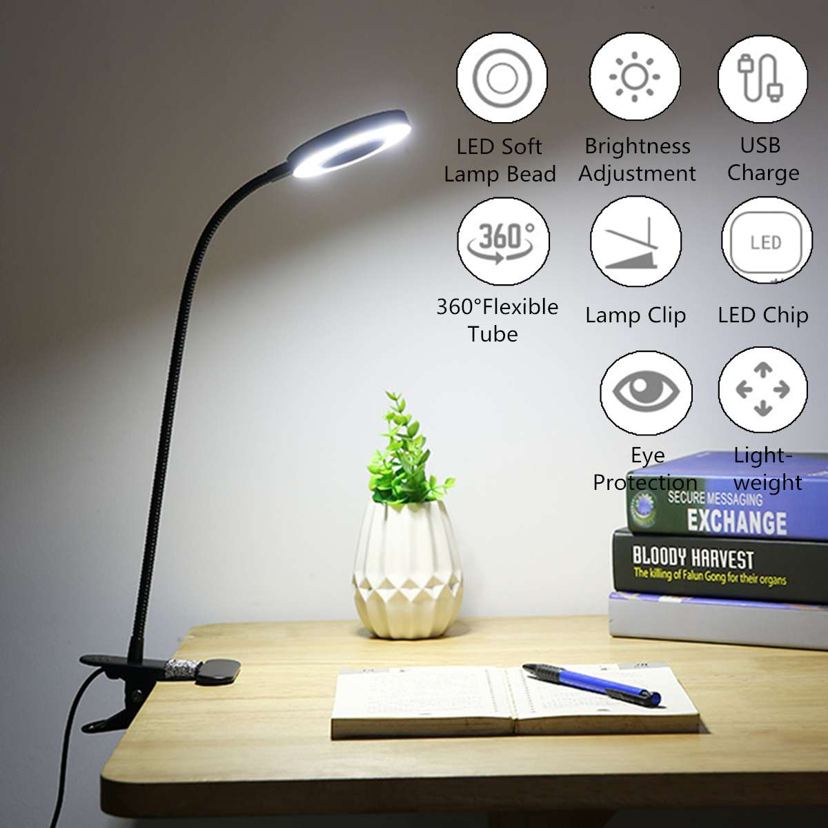 USB Power Clip Holder LED Book Light Desk Lamp 7W Flexible Bed Reading Book Lights Table Lamp for Study Room Eye Care Night Lamp
