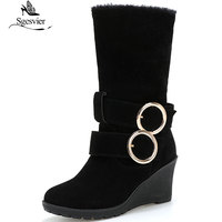Sgesvier Women Shoes Mid Calf Boots Fashion Winter Warm Fur Snow Boots Female Wedge Heel Martin Boots Shoes Woman Size 43 B863
