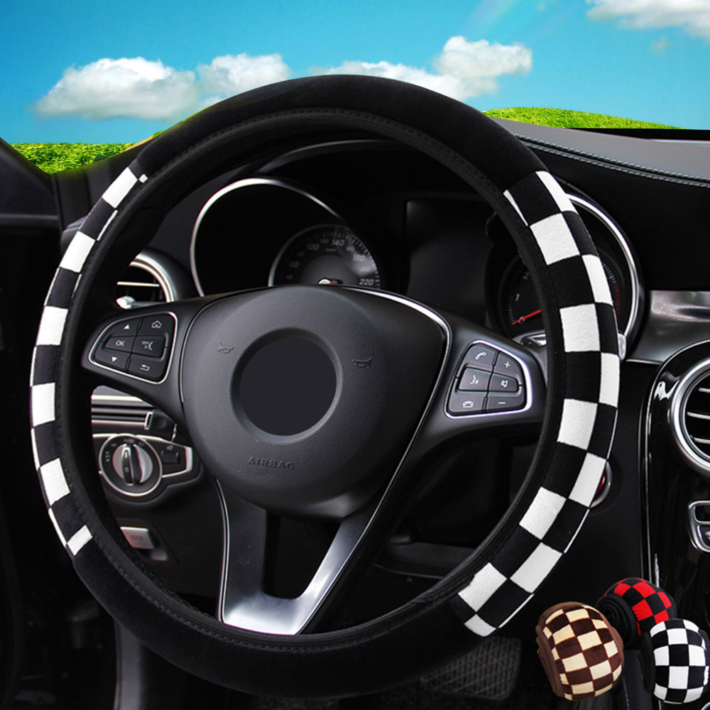 Car Steering Wheel Cover Universal Car-styling Diameter 38cm Car Accessories Auto Steering Covers Plush Fabric 3 Colors