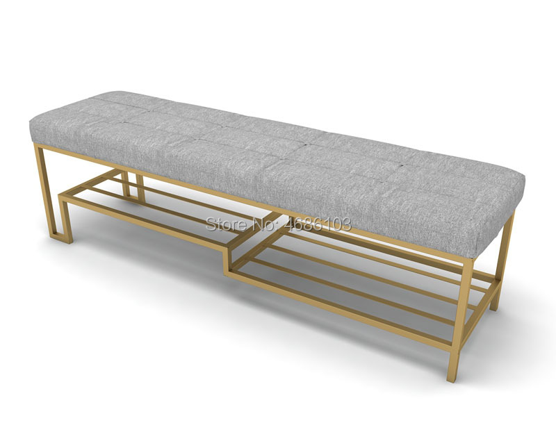 Nordic Style shoe rack bench,shoe rack bench modern fancy shoe long chair seat Ottoman bench stool for bedroom with Iron legs
