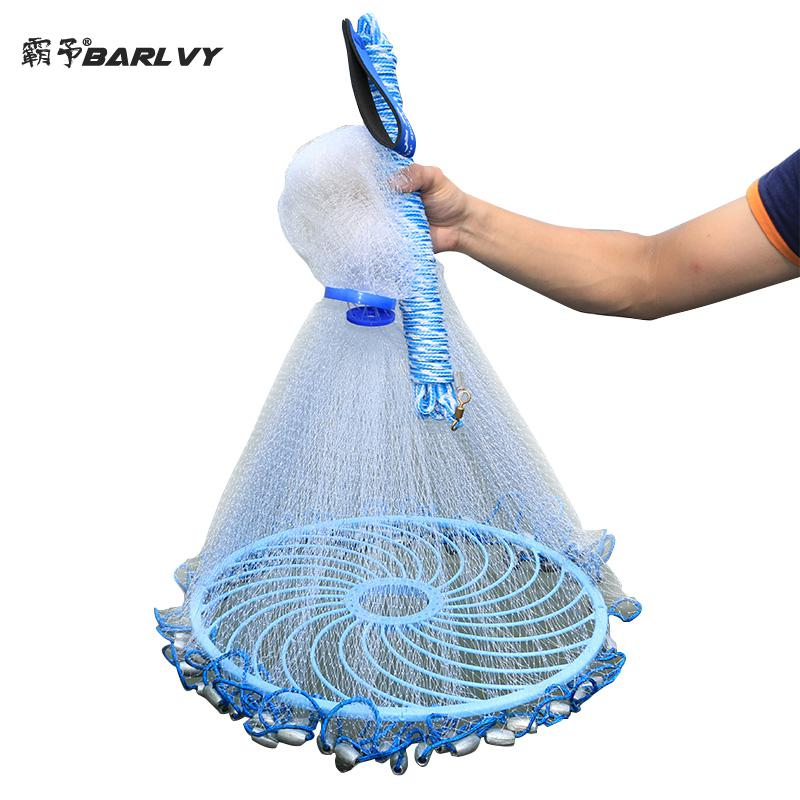 Upgraded American Hand Cast Net with Flying Disc High Strength Fly Fishing Network 300 360 420