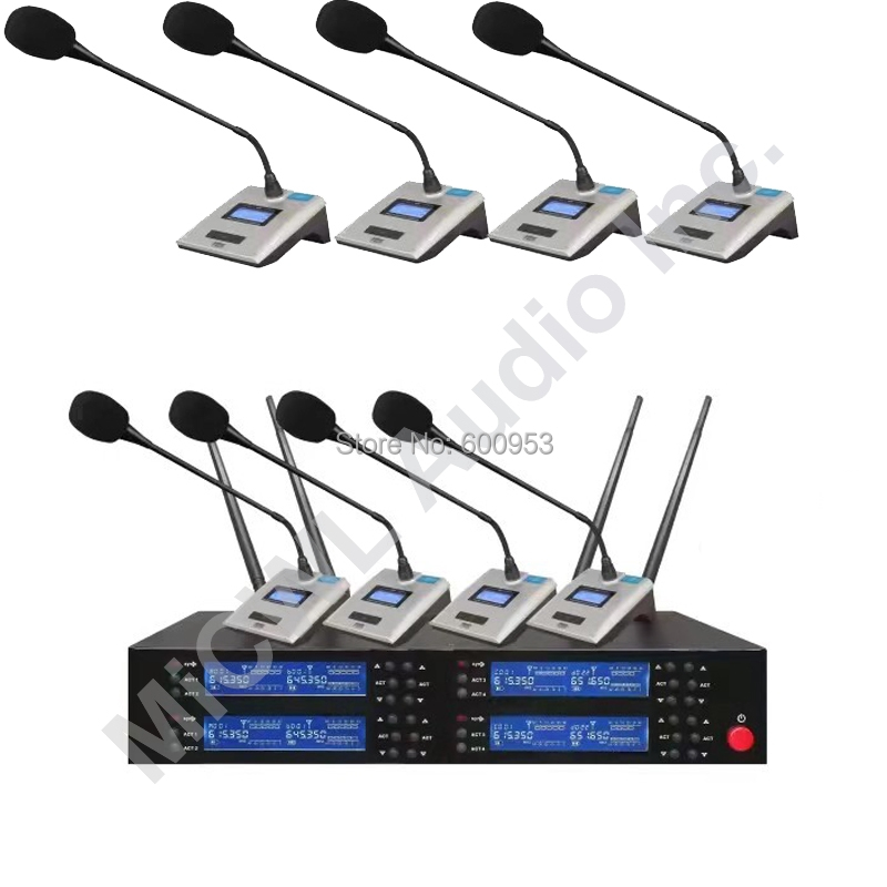 MiCWL SKM9800 8 Tabletop Conference Wireless Microphone System Wireless Meeting Room Mic UHF 600MHz Rang Adjustable