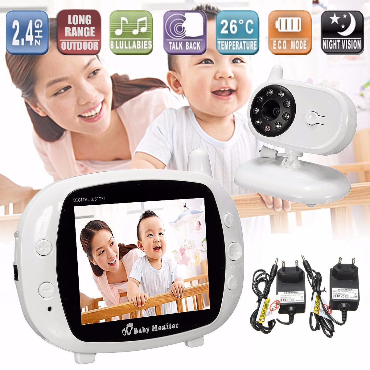 2,4g inalámbrico Digital de 3,5 LCD Monitor de bebé Cámara 2 Audio bidireccional Talk Video visión nocturna WIFI niñera temperatura de seguridad